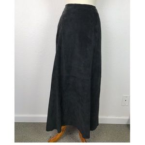 Chico's Leather Suede Maxi Lined Skirt